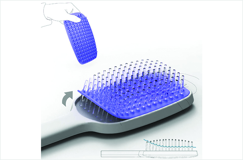 Creative Inventions You Might Need In Dubai-Self cleaning hair brush